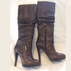 I.N.C Brown Tall Scrunch Leather Boots